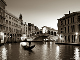 Gondola by the Rialto Bridge, Grand Canal, Venice, Italy