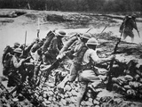 American Infantry in WWI Leaving their Trench to Advance Against the Germans, 1918