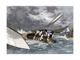 Sailboat Heeling Over in a Hiker-Yacht Race on the Delaware River, 1870s