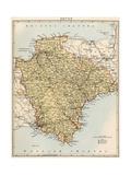Map of Devon, England, 1870s