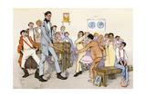 Teacher Spanking Boys with a Ruler in a One-Room School