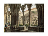 Spain. Catalonia. Poblet Monastery. Cloister. Engraving. Color