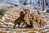 Scimitar Cats Attacking a Horse
