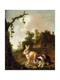 Wooded Landscape with Two Hares