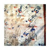 Detail of a Temple Cloth in Which Krishna Plays His Flute Among the Cows and Herdsmen with Whom?