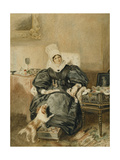 Portrait of a Lady by a Table with a Dog