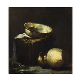 Still Life with Copper Pots and Black Fish