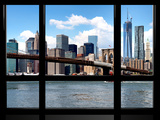 Window View, Manhattan with One World Trade Center (1WTC) and the Brooklyn Bridge, New York