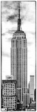 Vertical Panoramic, Black and White Photography, Empire State Building, Manhattan, New York -Us