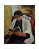 Woman Reading in Red Armchair