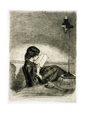 Reading by Lamplight, 1858