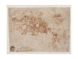 Drawing of Figures Fighting on Horseback and on Foot, with a Bridge and Two Other Figures, 1503