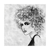 Art Sketched Beautiful Girl Face With Curly Hair And In Profile In Black Graphic