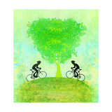 Cycling Sport With Two Riders Grunge Poster Template , Raster