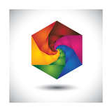 Abstract Colorful Hexagon With Infinite Spiral Steps
