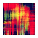 Art Abstract Geometric Pattern, Background In Bright Red , Gold And Green Colors