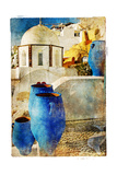 Amazing Santorini - Artwork In Painting Style