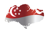 Singapore Flag In Map Silhouette Isolated Illustration