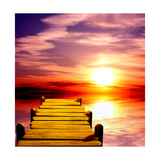 Fantasy Beautiful Sunset And Wooden Pier