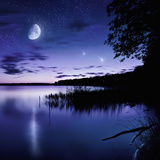 Tranquil Lake Against Starry Sky, Moon and Falling Meteorites, Russia