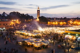 Elevated View of the Koutoubia Mosque at Dusk from Djemaa El-Fna