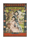 Poster with Two Young Women in Garden