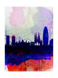 Barcelona Watercolor Skyline 2