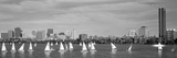 Usa, Massachusetts, Boston, Charles River, View of Boats on a River by a City