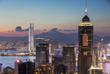 Skyline of Hong Kong Island and Kowloon at Sunset, Hong Kong