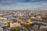 Aerial View from Helicopter, Houses of Parliament, River Thames, London, England