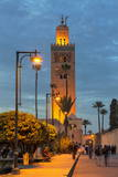 The Minaret of Koutoubia Mosque Illuminated at Night