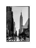Urban Street Scene with the Empire State Building in Winter