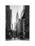 Urban Scene in Winter at Grand Central Terminal in New York City with the Chrysler Building