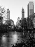 """Frozen Lake """"""""The Pond"""""""" in Central Park with 5th Avenue Buildings"""