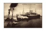 Dampfer New York Im Hafen, Hamburg Amerika Linie