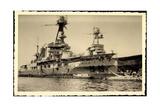 Foto Franzosisches Kriegsschiff, Hafen, Dockarbeiter