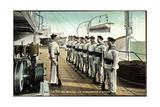 Marineleben, Bewaffnete Soldaten Auf Dem Schiff