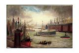 Kunstler Dampfschiff Im Hafen, Segelschiffe, Fed 402