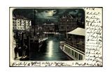 Litho Rorschach Kt Sankt Gallen, Hafen Im Mondschein