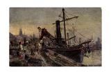 Kunstler Rudell, K., Koln Rhein, Schiff Im Hafen