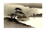Gold Japanische Landschaft, Hutten, Boote