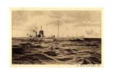 Deutsches U Boot Auf Hoher See, Aufgetaucht