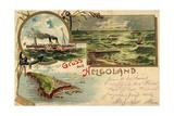 Litho Helgoland, Dampfer Cobra, Inselumriss, Segelboote