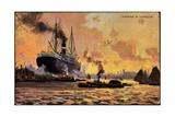 Kunstler Evening in Harbour, Steamer, Boats