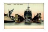 Hamburg, Dampfer Palatia Der Hapag in Der Werft
