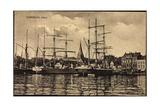Flensburg, Hafen, Anlegende Schiffe, Hauser