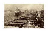 HSDG, Dampfer Cap Polonio, Hafeneinfahrt, Gebaude