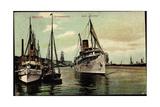 Stettin Pommern, Hafenansicht Mit Dampfer Hertha