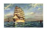 Kunstler Segelschiff, 3 Master Auf See, Boote