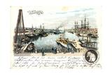 Litho Bremen, Freihafen, Anlegende Schiffe, Beobachter